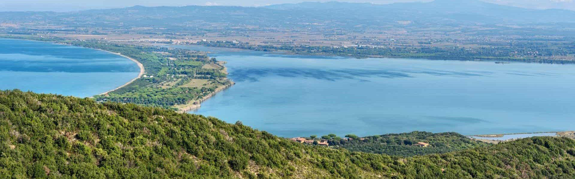 View of Tombolo della Giannella in lagoon Orbetello on peninsula Argentario. Italy